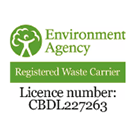 Environment Agency Registered Waste Carrier licence number CBDL227263
